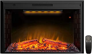 Valuxhome 43 Inches Electric Fireplace Recessed Fireplace Heater with Log Speaker, 1500W, Timer, Remote Control, Black