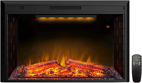 Valuxhome 43 Inches Electric Fireplace Recessed Fireplace Heater With Log Speaker 1500W Timer Remote Control Black