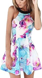 FANCYINN Women Sexy Halter Neck Floral Print Backless Beach Skater Mini Dress