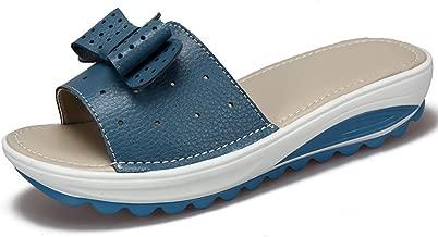 GIY Women Bowknot Slide Platform Sandals Anti-Slip Thick Bottom Summer Beach Flat Wedge Sandals