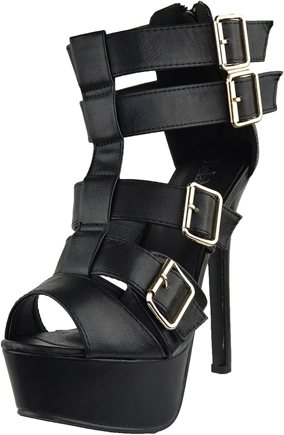 KSC Womens Dress Sandals Strappy Buckle Accents Platform shoes