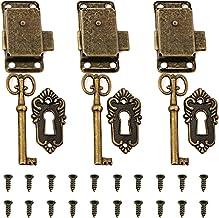Tingz 3-delig kastdeurslot antiek kastslot meubelslot met sleutel en schroeven kluisjes deurslot voor brievenbussen,kluisj...