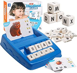 RAEQKS Educational Matching Letter Game, 2 in 1 Sight Words Math Flash Cards Kindergarten Preschool Learning Toys, Alphabe...