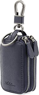 AslabCrew Car Key case Genuine Leather Car Smart Key Chain Keychain Holder Metal Hook and Keyring Zipper Bag for Remote Key NavyBlue