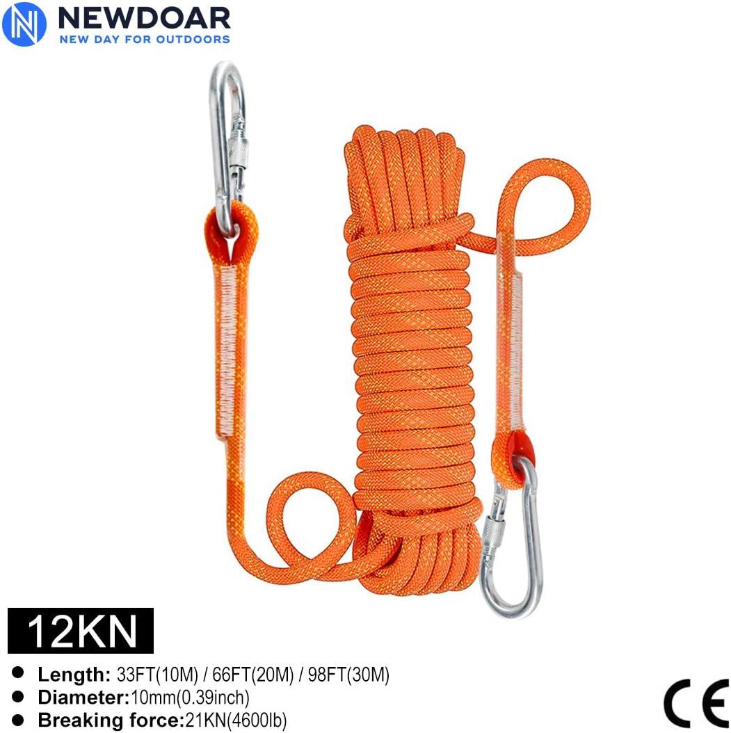 NewDoar - Cuerda de escalada estática de 10 mm (3/8 pulgadas), equipo de cuerda de escape de 33 pies (10 m), 66 pies (20 m) 98 pies (30 m) equipo de ...