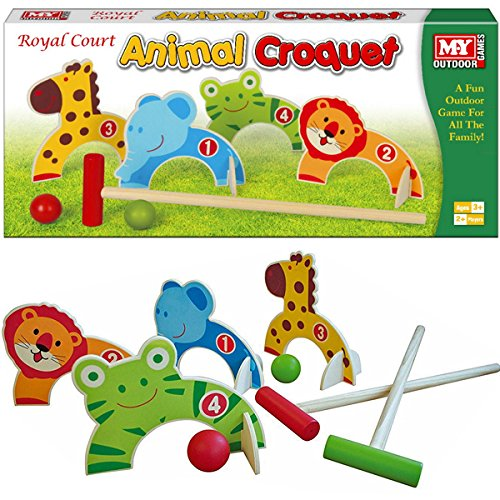 BARGAINS-GALORE WOODEN ANIMAL CROQUET GOLF KIDS INDOOR OUTDOOR GARDEN FUN TOY GAME SET CUTE NEW