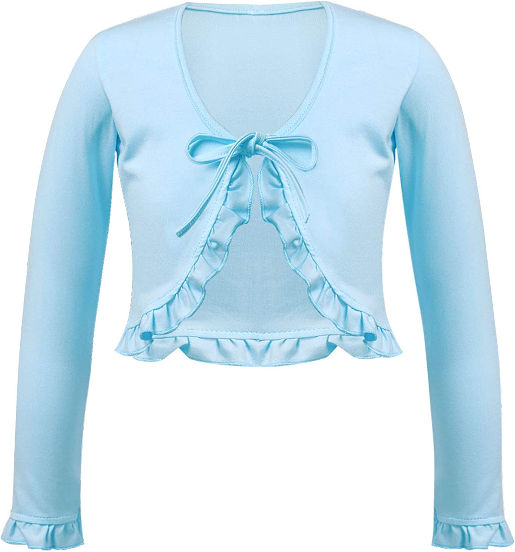 Hansber Kids Girls Ballet Dance Wrap Tops Long Sleeve Shrug Cardigan Dress Cover Up Tops Gymnastics Yoga Dancewear