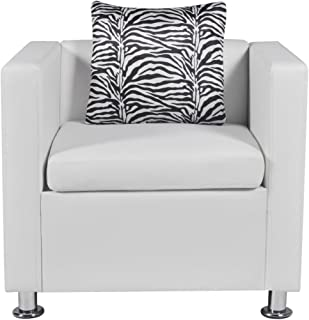 Festnight Leather Cube Armchair Single Sofa Chair with Thick Cushion and Pillow Armrest Tub Barrel Club Seat Chair Living Room Home Office Reception (White)