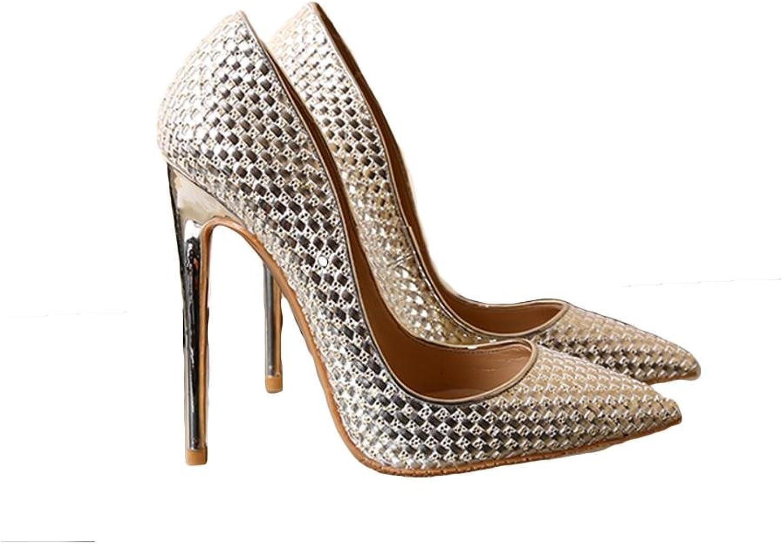 GHFDSJHSD Frühling und Sommer spitzte High Heels fein mit Pailletten Kristall Hochzeit Schuhe Braut Schuhe flachen Mund Schuhe