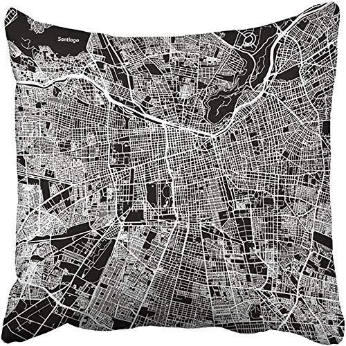 Doble Cojines Fundas 18' Cuadrícula Negra Contorno Mapa Santiago Uno Listo para Cambiar Arte Calle Blanca Funda de Almohada Suave para la Piel