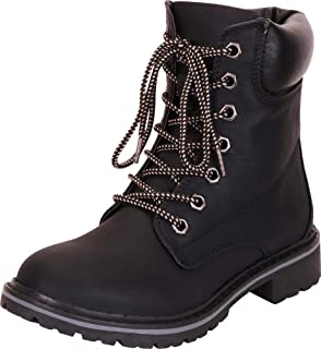 Cambridge Select Women's Work Combat Military Lace-Up Lug Sole Boot