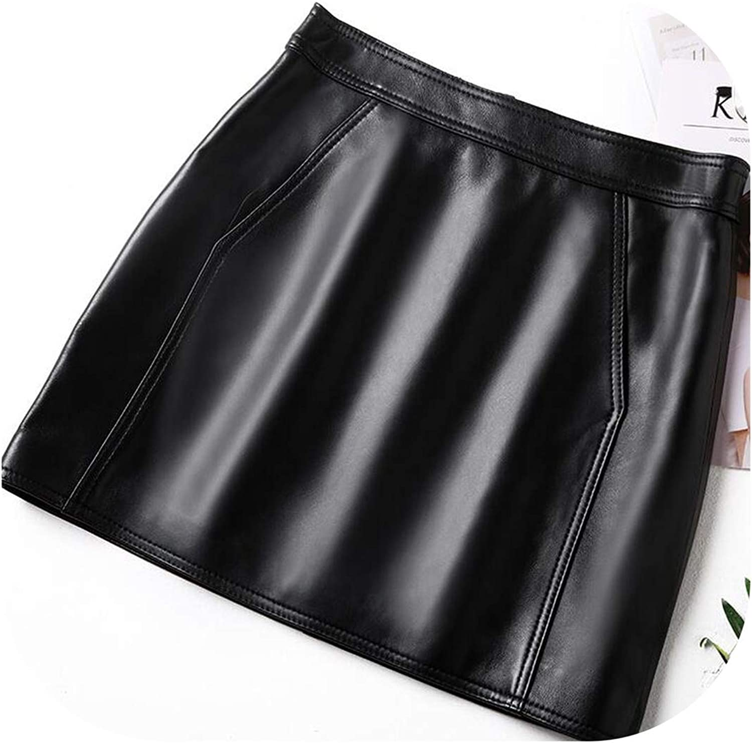 Try My Best dress Winter Ladies Short Skirts Genuine Leather Wrap Skirts Female Elegant Slim Fit High Waist ALine Skirts