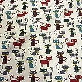 Baumwollstoff | Miau! Katzen Stoff - Bordeauxviolett,