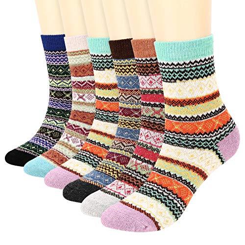 Fixget 6 Pares de Calcetines de Invierno para Hombres y Mujeres, Lana Calcetines de Punto de Estilo Vintage, Grueso Cálidos Calcetines Cómodos EU 35-42 (B)
