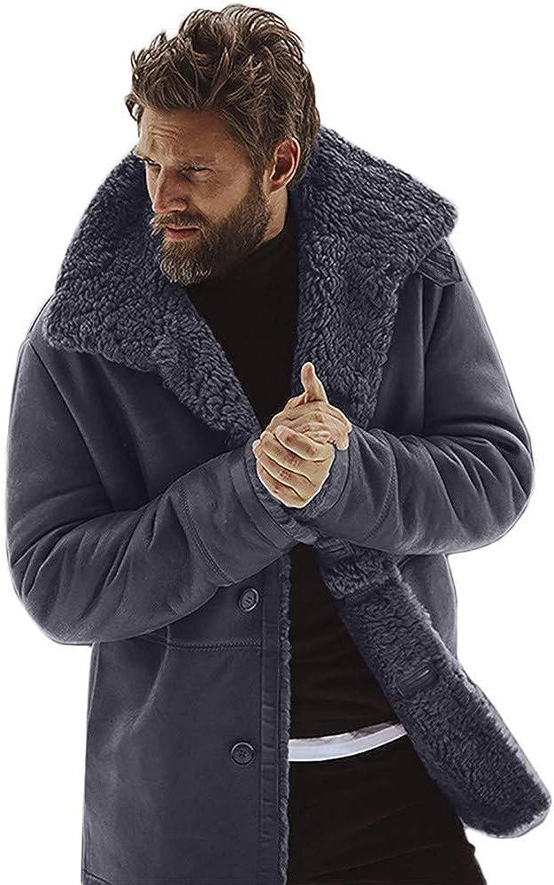 NREALY Jacket Mens Winter Sheepskin Jacket Warm Wool Lined Mountain Faux Lamb Jackets Coat