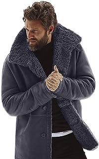 f2140120d26 kemilove Men s Vintage Sheepskin Jacket Fur Leather Jacket Cashmere  Shearling Coat