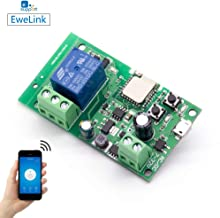 EACHEN WiFi Wireless Inching Relay Momentary/Self-locking Switch Module DIY Smart Garage Door DC 5-32V AC90-260V Ewelink App Compatible With Alexa Echo Google home Nest IFTTT (ST-DC1)