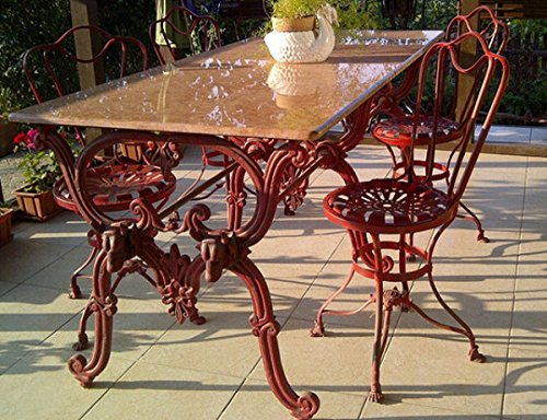 Casa Padrino Jugendstil Gartenmöbel Set - 1 Tisch + 4 Stühle - Antik Stil Design 180 cm - Eisen mit massiver Marmorplatte