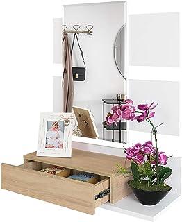 COMIFORT Recibidor Colgante - Mueble de Entrada con Cajón, Espejo y Estante de Estilo Nórdico y Moderno, Muy Resistente y Estable, de Color Blanco y Roble