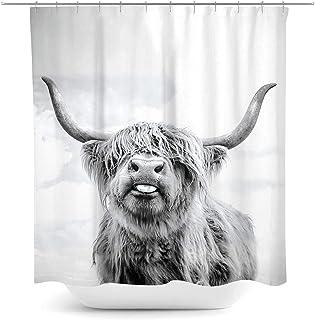 پرده حمام Coxila Highland Cow Bull Bull حیوانات وحشی پرده حمام پرده حمام پارچه پلی استر ضد آب 60 72 72 اینچ 12 بسته قلاب پلاستیکی