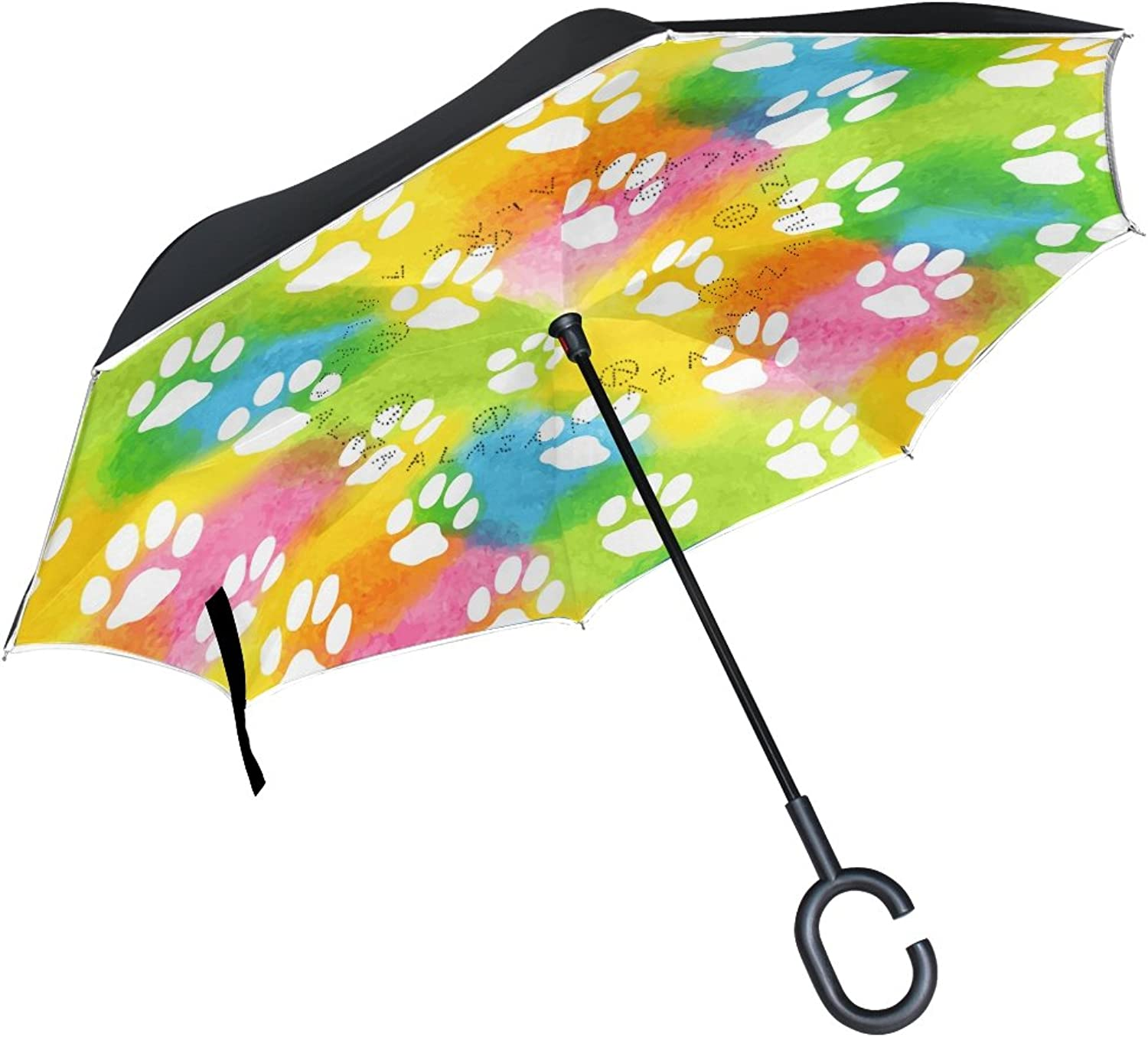 2f1730d31386 Watercolor Cat Dog Paws Footprints Ingreened Double Layer Windproof ...