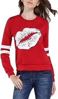 Anaisy Sweater Ladies New Sleeves Fashionable Long Shirt Lips Print Loose Round Neck Blusa Joven Sport Streetwear Tops con Estilo Sudaderas Women