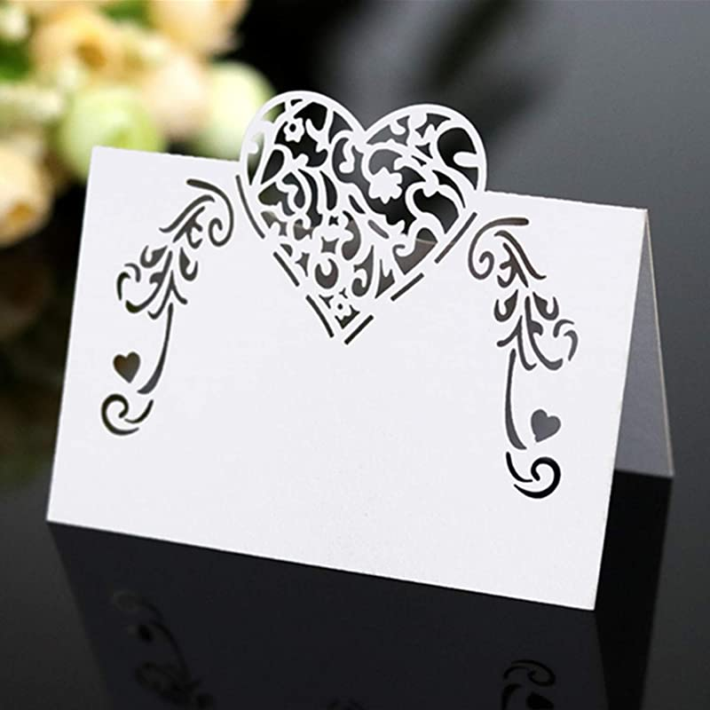 Selling Wonderful 100Pcs Cut Heart Shaped Hollow Wedding Table Number Name Place Card Wedding Party Decoration