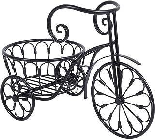 GOTOTOP Soporte de Planta de Hierro Forma de Bicicleta Estantería Decorativa de Hierro para Macetas Soporte de Flores para Exterior Interior Jardín