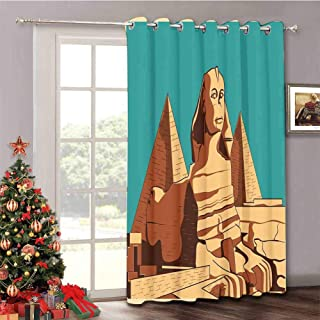 Egyptian - Extra Wide Patio Door Curtains Vintage Poster of Sphinx and Pyramids in Giza Ancient Famous Monument Cairo - Thermal Insulated Blackout Patio Curtains W52 x L63 Inch Teal Pale Brown