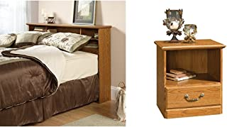 Sauder Orchard Hills Bookcase Headboard, Full/Queen, Carolina Oak Finish + Sauder Orchard Hills Night Stand, Carolina Oak Finish_Bundle