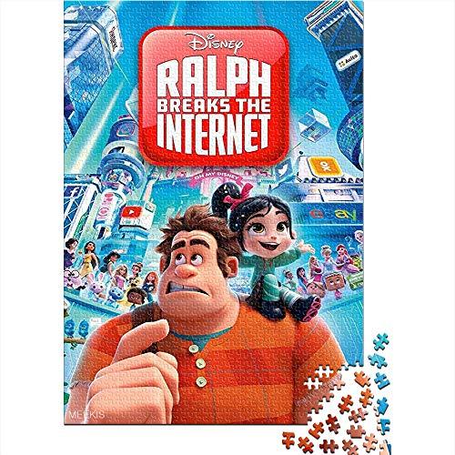 CELLYONE Puzzle für Erwachsene 1000 Teile Ralph Breaks The Internet Movie Poster 1000-teiliges Puzzlespiel-Puzzle Brain Challenge Puzzlespiel Spielzeug 52x38CM(1000pcs)
