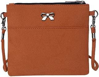 Waymine Women's Leather Shoulder Bags Bow Decoration Hit Color Panelled Square Crossbody Bag Messenger Bag