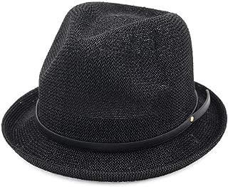 Bin Zhang Women's Straw Hat Spring Sun Hat Summer British Wind Jazz Hat Sunscreen Straw Hat Simple Curling Small Hat