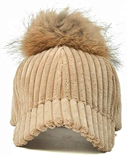 JAUROUXIYUJIN New Baseball Hat Female Korean Students Autumn and Winter Hair Ball Hat Wild Tide Couple Hair Ball Warm Caps Female (Color : Beige, Size : 56-60CM)