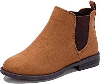 Pescool Girl's Chelsea Booties Casual Low Heel Slip on Brie Ankle Boots