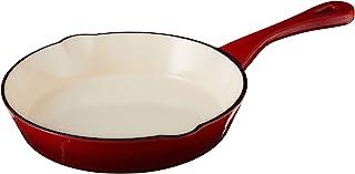 Crock Pot 111978.01Artisan redonda de hierro fundido esmaltado sartén, 20,3cm Preseasoned, Rojo escarlata, 1