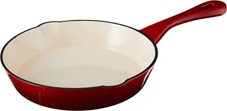 "Crock Pot 111978.01 Artisan Enameled Cast Iron Round Skillet, 8"", Preseasoned 8-Inch Scarlet Red"