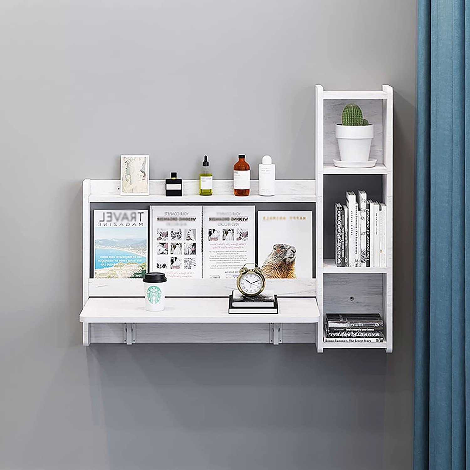 XIAOQIAO Wall Fort Worth Mall Max 86% OFF Mounted Folding Table Hanging with Bookcase Wooden