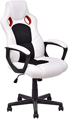 COSTWAY Executive Racing Style High Back Office Chair Bucket Seat Computer Desk Task (White&Black)