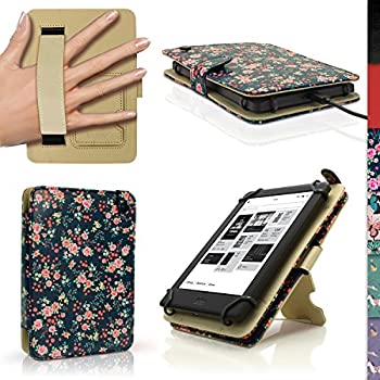 iGadgitz  Designer Collection  Pink Rose Floral Pattern PU Leather Folio Case Cover for Kobo Touch 2 Kobo Glo HD 2015 Kobo Aura & Kobo Aura Edition 2 with Hand Strap & Viewing Stand