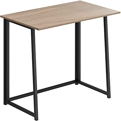 """THKKY No-Assembly Folding Desk, 31.5"""" Small Computer Desk Home Office Desk Foldable Table Study Writing Desk Workstation for Small Space Offices (Natural & Black)"""