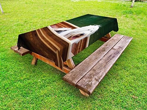 ABAKUHAUS Engels Herdershond Tafelkleed voor Buitengebruik, Bobtail in een Kano, Decoratief Wasbaar Tafelkleed voor Picknicktafel, 58 x 120 cm, Veelkleurig