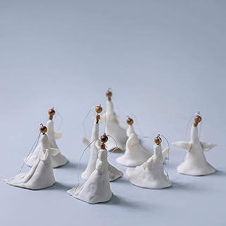 Decoración navideña hecha a mano Decoración de porcelana Decoración de ángel Adorno navideño de cerámica Decoración de árb...