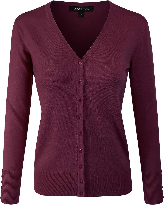 ELF FASHION Women Top Long Sleeve Button VNeck Knit Sweater Cardigan (Size S3XL)