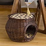 Pet Home M Size Handmade Wicker Basket Cat Bed Cave Dog House Rattan Furniture Kennel Two Level Perfect Kitten Gift with Cushions and Mats Free (M, Coffee)