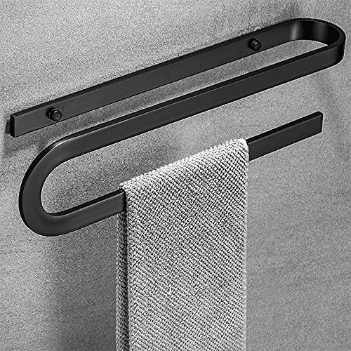 Toallero estante negro montado en la pared, 18 pulgadas en forma de S barra de toalla titular espacio aluminio para baño inodoro Hotel, individual
