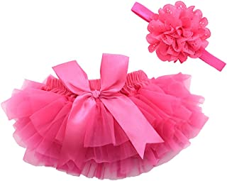 Girls Cotton Tulle Ruffle with Bow Baby Bloomer Diaper Cover and Headband Set