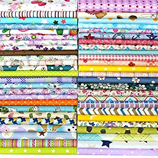 "Misscrafts 50pcs 8"" x 8"" (20cm x 20cm) Top Cotton Craft Fabric Bundle Squares Patchwork DIY Sewing Scrapbooking Quilting Dot Pattern (B01MS22AJV) 