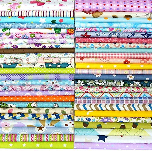 Misscrafts 50pcs 8' x 8' (20cm x 20cm) Top Cotton Craft Fabric Bundle Squares Patchwork DIY Sewing Scrapbooking Quilting Dot Pattern