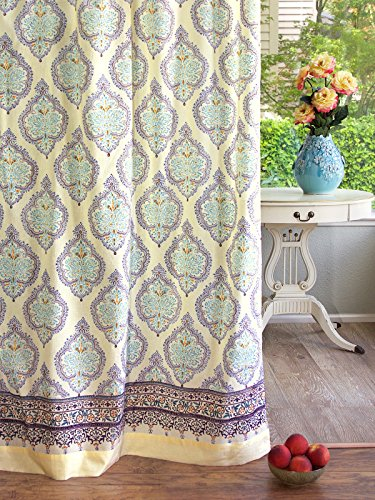 Saffron Marigold Morning Dew French Country Long Curtain Panel | Pastel Pale Yellow Sheer Gossamer Cotton Voile Curtains Drapes 46 x 84